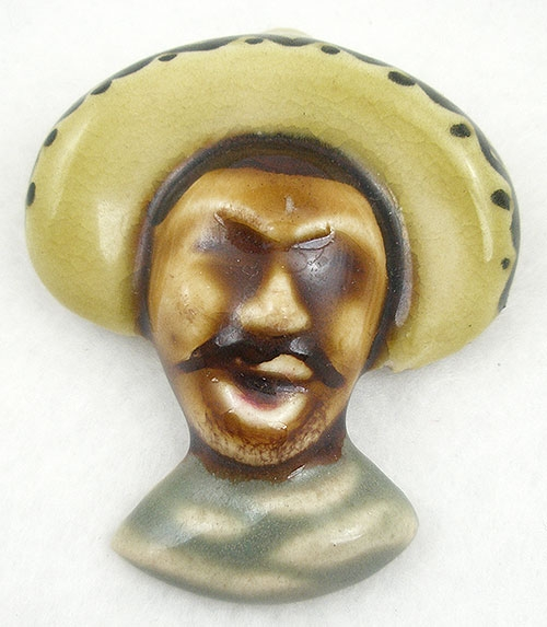 Brooches - California Pottery Mexican Man Brooch