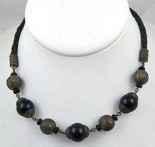 Necklaces - Black Glass & Brass Bead Necklace
