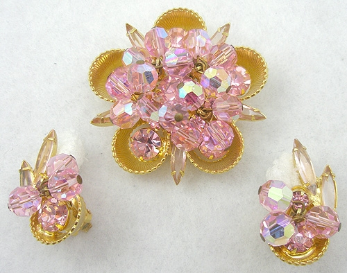 DeLizza & Elster/Juliana - DeLizza & Elster Pink Beads Brooch Set