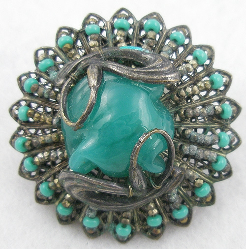 Brooches - Miriam Haskell Teal Green Glass Brooch