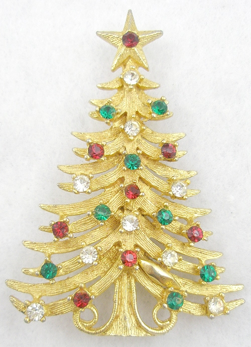 Misc. Signed M-R - Mylu Christmas Tree Brooch