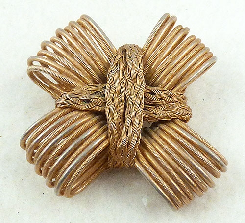 Hobé - Hobo Gold Wire Loops Bow Brooch