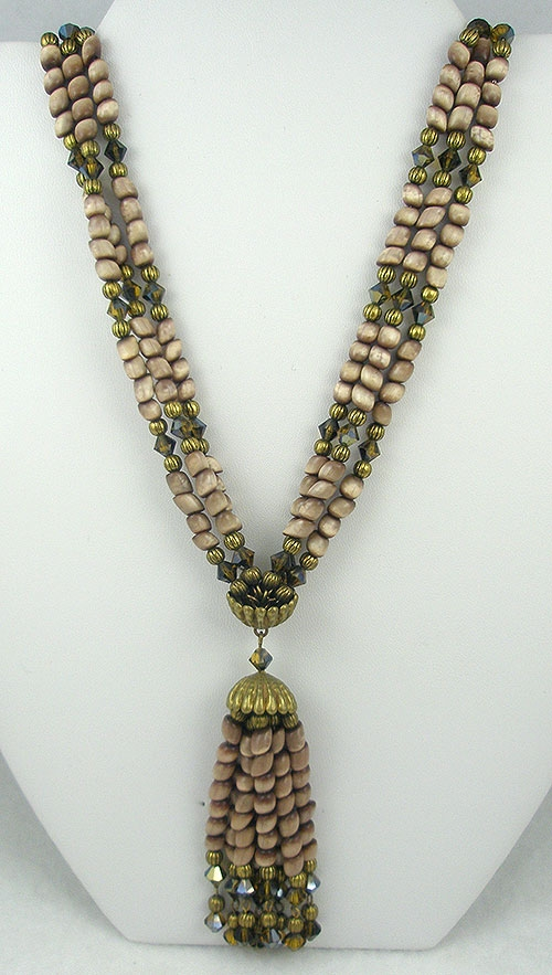 Autumn Fall Colors Jewelry - Hobé Mother-of-Pearl Tassel Necklace