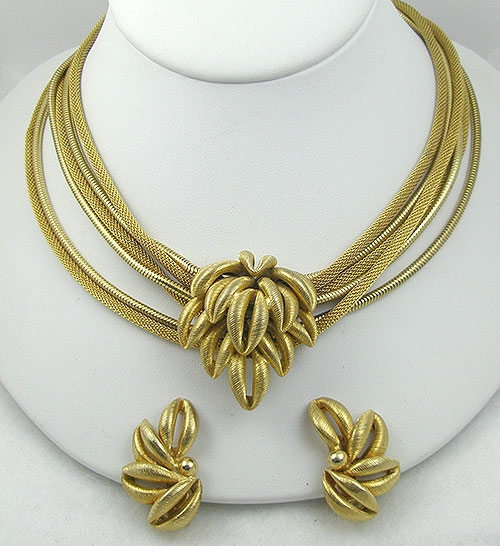 Sets & Parures - Golden Leaves Mesh Chain Necklace Set