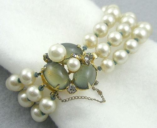 Pearl Jewelry - Marvella Triple Pearl Black Diamond Cabochon Bracelet