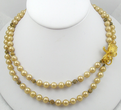 Pearl Jewelry - Simulated Pearl Necklace with Bug Clasp