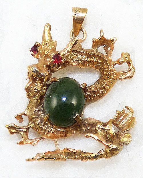 Figural Jewelry - Snakes Turtles Reptiles - Gold Plated Chinese Dragon Pendant