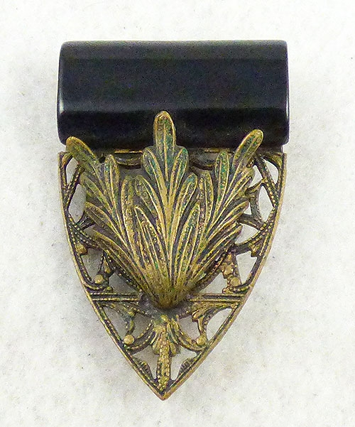 Bakelite, Celluloid, Galalith - Black Galalith Filigree Brooch