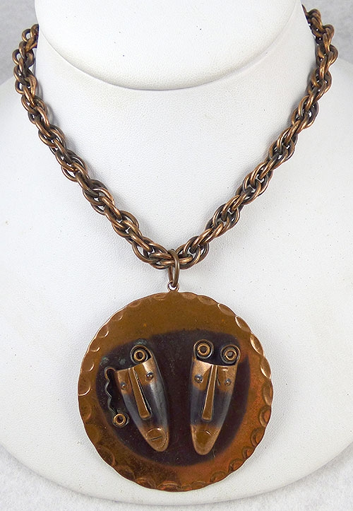 Necklaces - Rebajes Copper Brazilian Masks Pendant Necklace