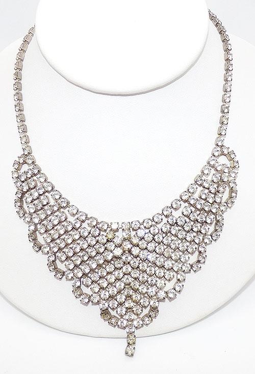 Necklaces - Clear Rhinestone Scallopped Bib Necklace