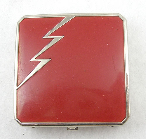 Compacts - Art Deco Red Lightning Compact