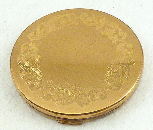 Compacts & Vanity Items - Elgin Round Etched Gold Compact