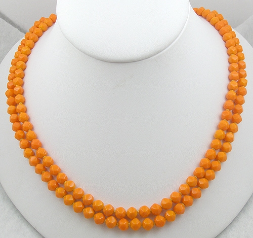 Necklaces - Tangerine Glass Bead Double Strand Necklace