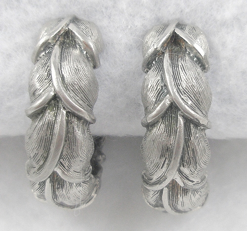 Earrings - Tortolani Silver Leaves Huggie Earrings