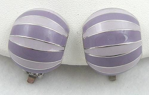 Earrings - Lavender Striped Enamel Earrings