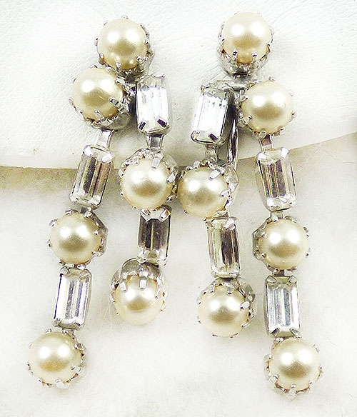 Newly Added Kramer Rhinestone Pearl Drop Earrings