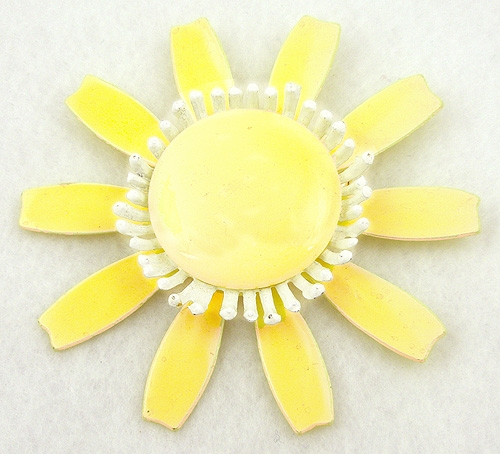 $25 or Less - Yellow Plastic Sunflower Brooch