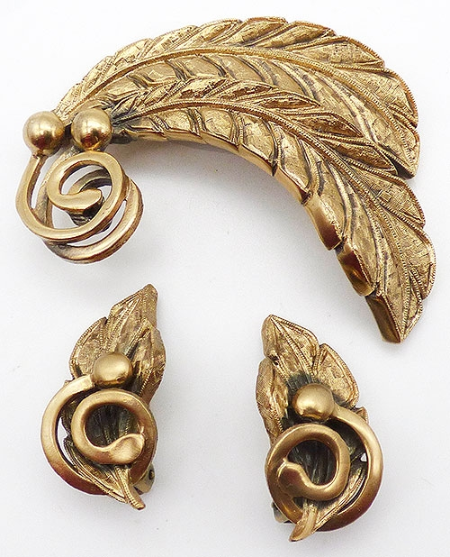 Newly Added Tortolani Gold Leaves Brooch Set