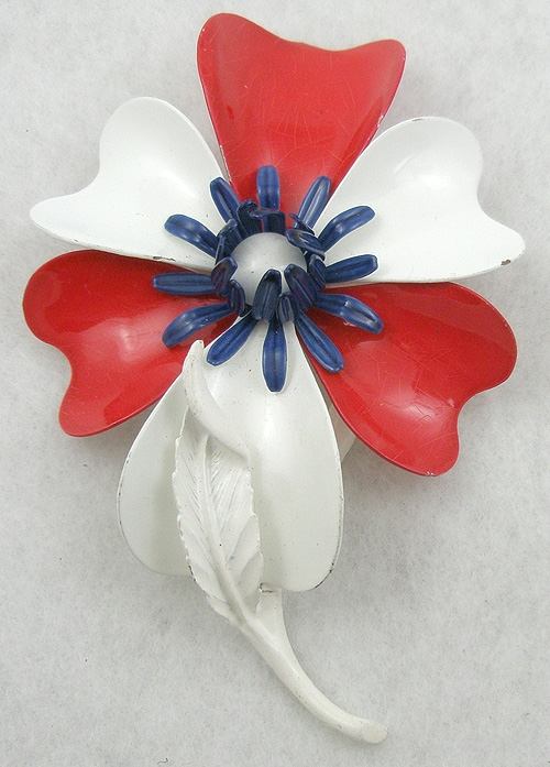 Patriotic Jewelry - Patriotic Enameled Flower Brooch
