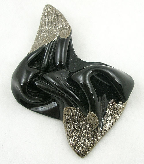 Brooches - Signed Amorphous Black Ceramic Brooch