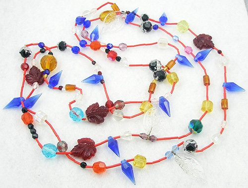 Necklaces - Pressed Glass Leaves and Glass Beads Rope Necklace