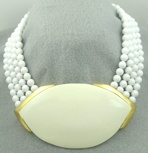 Necklaces - 1980's Ceramic and White Bead Necklace