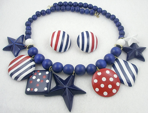 Patriotic Jewelry - Patriotic Stars & Stripes Necklace Set