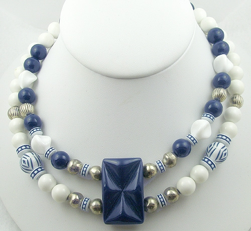 Necklaces - Navy & White Bead Double Strand Necklace