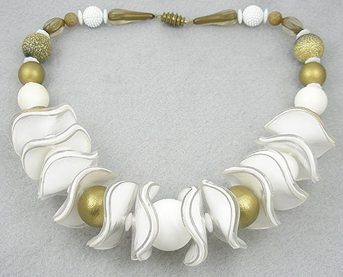 Necklaces - White & Gold Lucite Bead Necklace