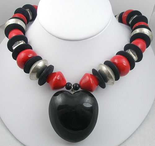 Hearts - Black Heart on Black & Red Bead Necklace