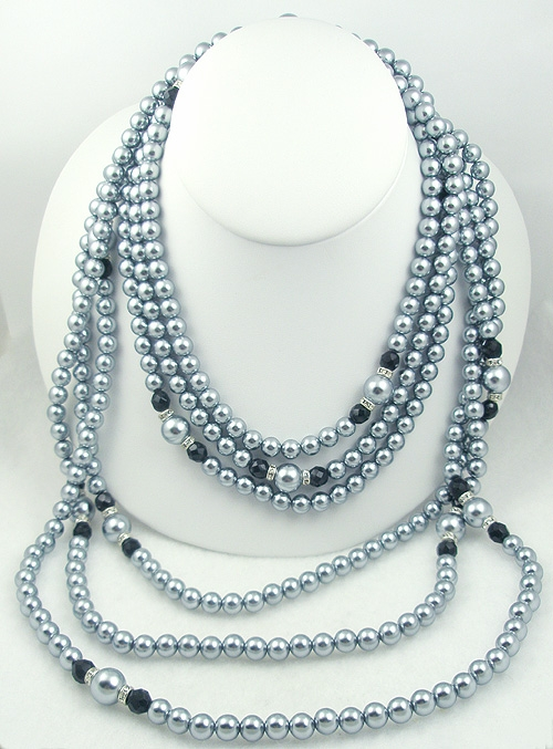 Necklaces - Trio of Faux Tahitian Pearl Necklaces