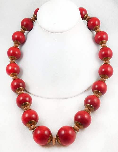 Newly Added Chunky Huge Red Wood Bead Necklace