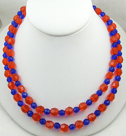 Crystal Bead Jewelry - Orange & Cobalt Crystal Bead Necklace