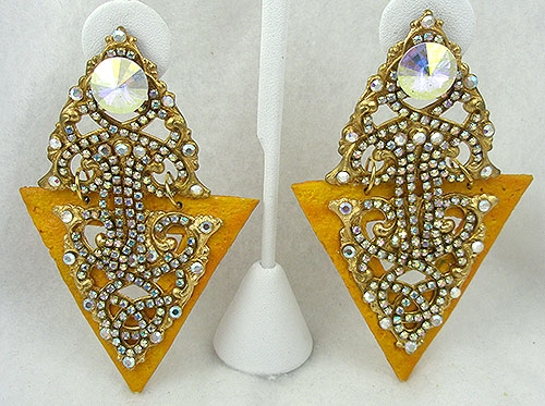 Autumn Fall Colors Jewelry - Marigold Triangle and Crystal Aurora Statement Earrings