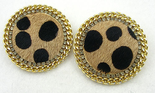Ethnic & Boho - Faux Leopard Fur Earrings
