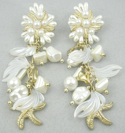 Earrings - Faux Pearl Golden Starfish Dangle Earrings