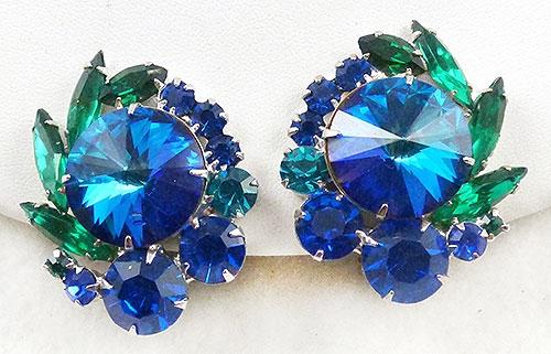 Earrings - DeLiza and Elster Blue Rivoli Earrings