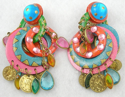 Earrings - Vibrant Enameled Hoops and Dangling Jewels Earrings