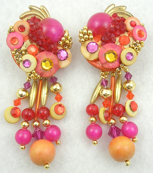 Earrings - Fuchsia & Orange Collage Earrings