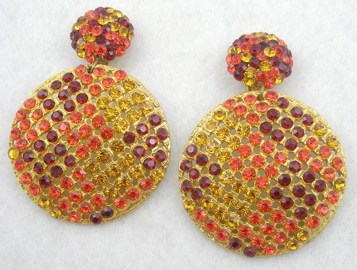 Earrings - Orange, Gold & Red Rhinestone Statement Earrings