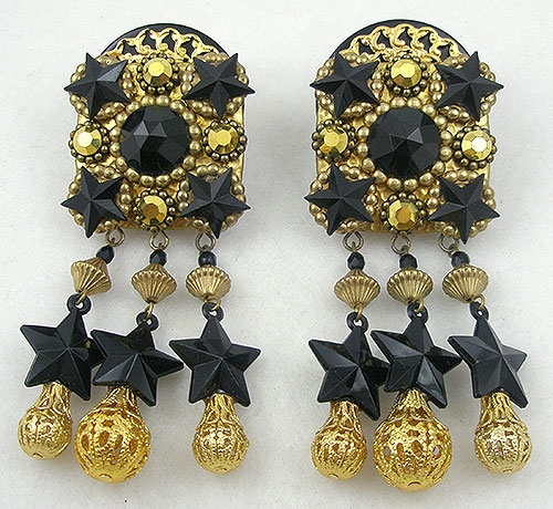 Trend 2020-2021: Stars! - Tony & Romelda Black & Gold Earrings