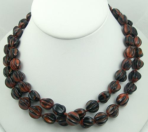 Necklaces - Orange & Black Art Glass Bead Necklace