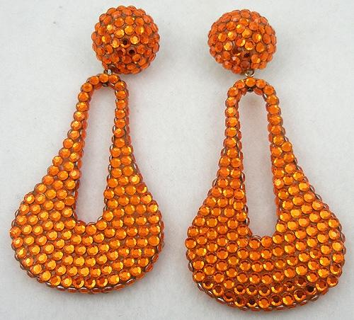 Summer Hot Colors Jewelry - 1980's Light Orange Rhinestone Earrings