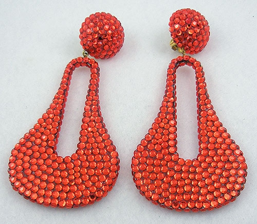 Trend: Spring Summer 2019 Earrings - 1980's Orange Rhinestone Earrings