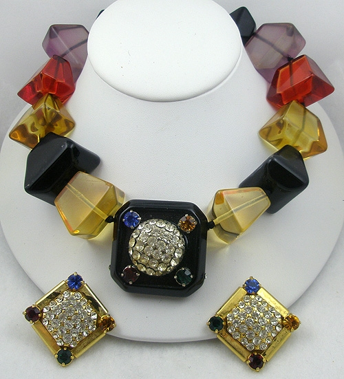 Sets & Parures - Z.E. Co Milano Chunky Lucite Necklace Set