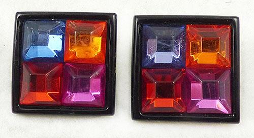 Earrings - Rainbow Square Gems Earrings