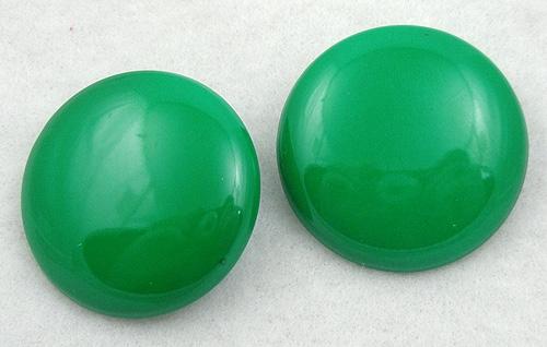 Earrings - Green Metal Disc Earrings