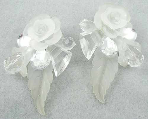 Florals - Frosted Lucite Flower Collage Earrings
