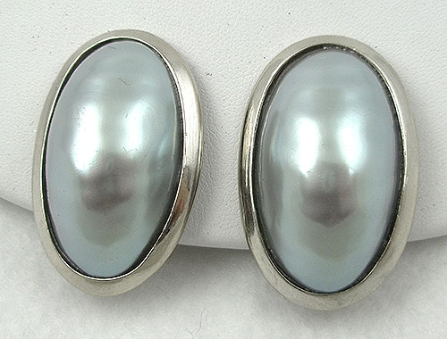 Winter Colors Jewelry - Simulated Tahitian Gray Pearl Statement Earrings
