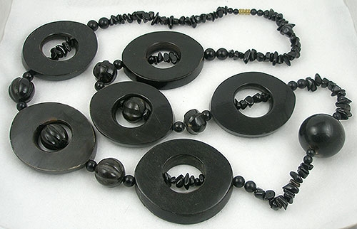 Necklaces - Massive 1980's Chunky Horn Rings Necklace